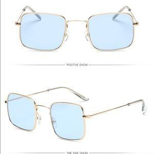 Blue Gold Square Round Shades Sunglasses